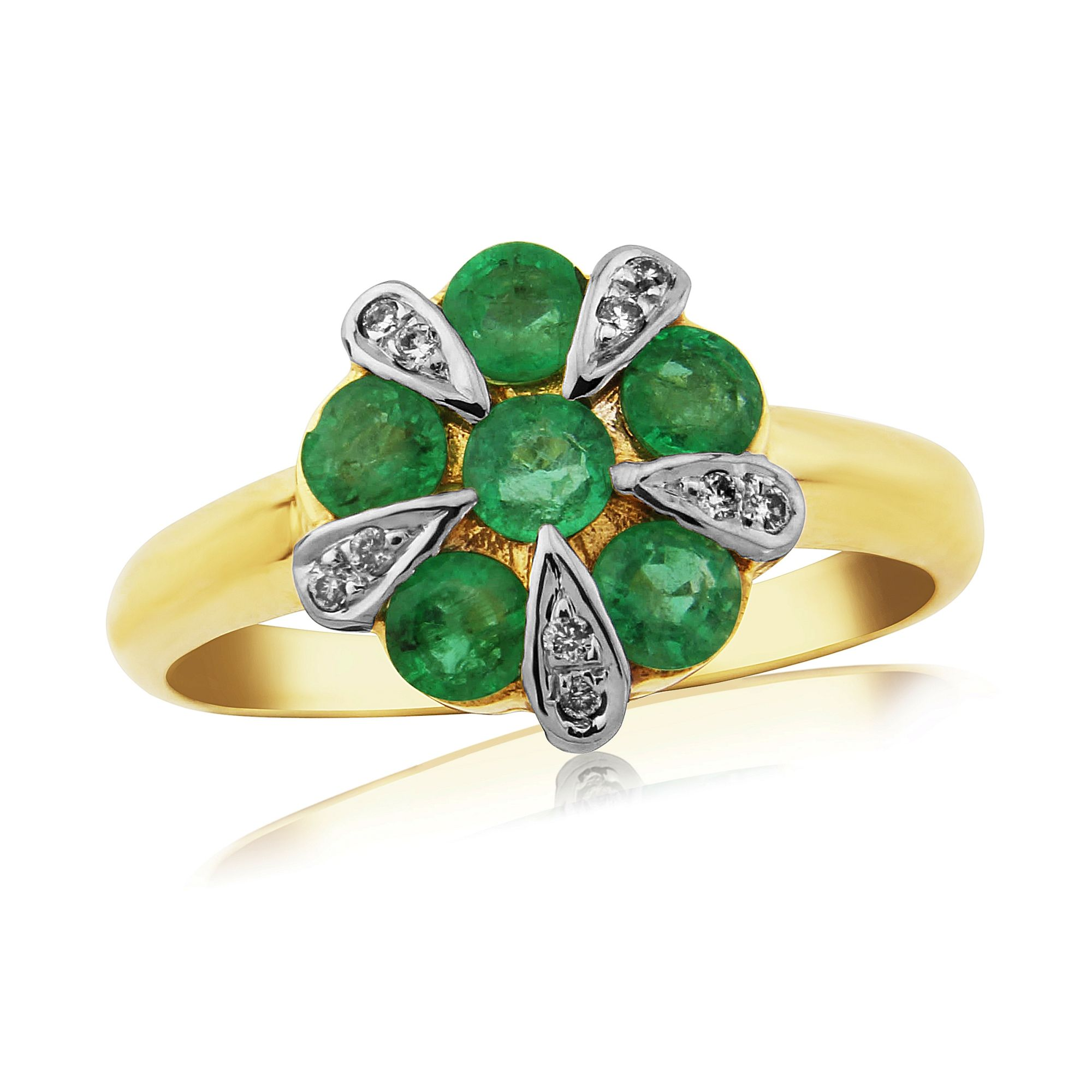 emerald and 9 carat yellow gold cluster ring der340