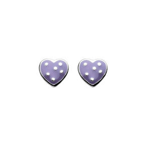 Kids Collection From Kit Heath Sterling Silver Enameled Heart Earrings 3921LE