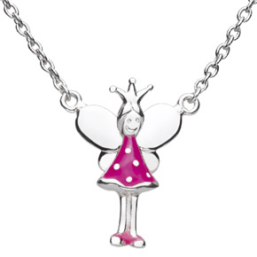 Kids Collection From Kit Heath Sterling Silver Enameled Tooth Fairy Pendant 9926PK