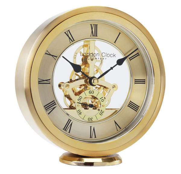 London Clock Company Gold Finish Round Skeleton Mantle Clock 04114