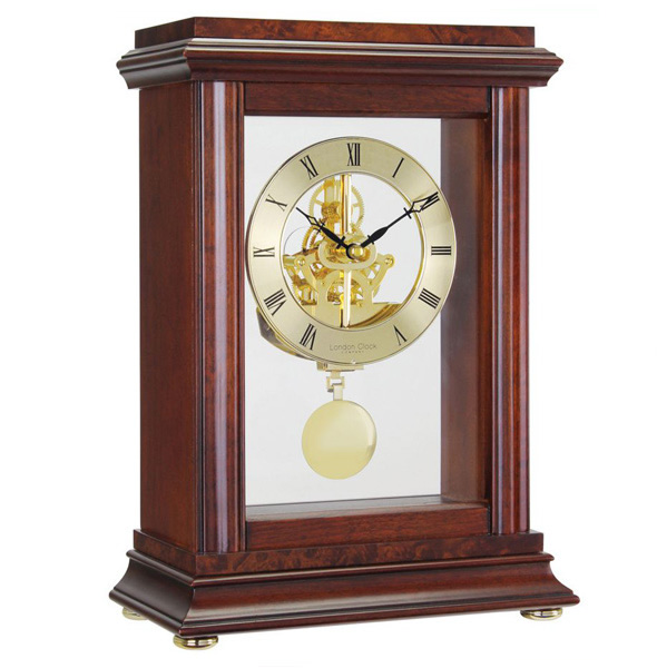 London Clock Company Mahogany Skeleton Pendulum Mantle Clock 07074