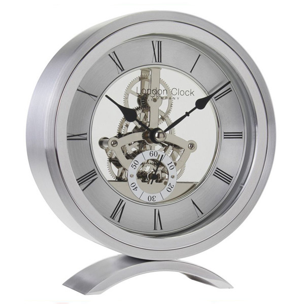 London Clock Company Silver Finish Round Skeleton Mantle Clock 04113