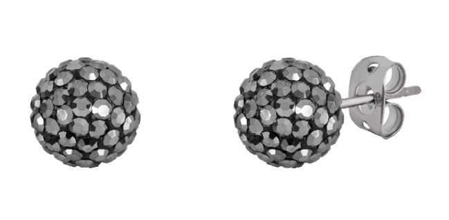 Tresor Paris 10mm Grey Large BonBon Stud Earrings