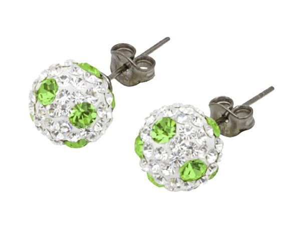 Tresor Paris 6mm Green Poke A Dot Large BonBon Stud Earrings