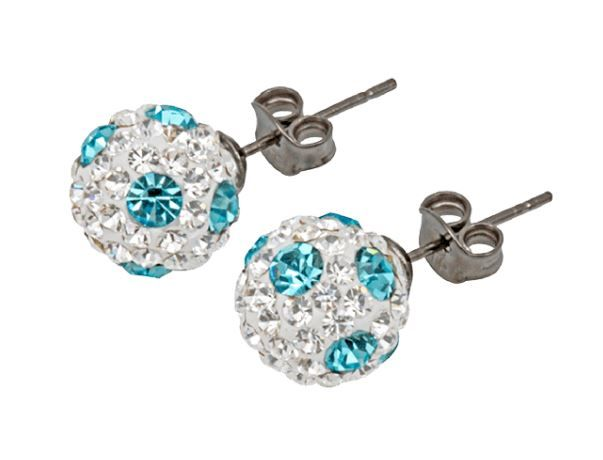 Tresor Paris 6mm Light Blue Poke A Dot Small BonBon Stud Earrings