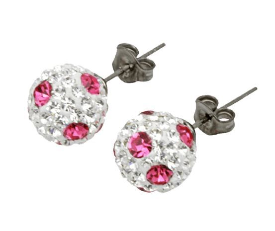 Tresor Paris 8 mm Pink Poke A Dot L BonBon Stud Earrings
