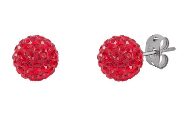 Tresor Paris 8mm Red Medium BonBon Stud Earrings