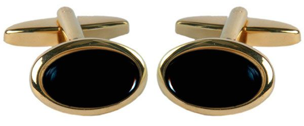 Cufflinks Black Oval Onyx Gold Plated T Bar Fitting