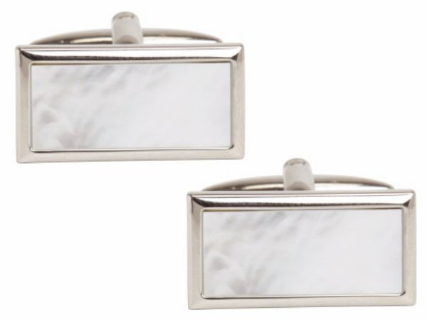 Cufflinks Mother Of Pearl Rectangle Silver Plated