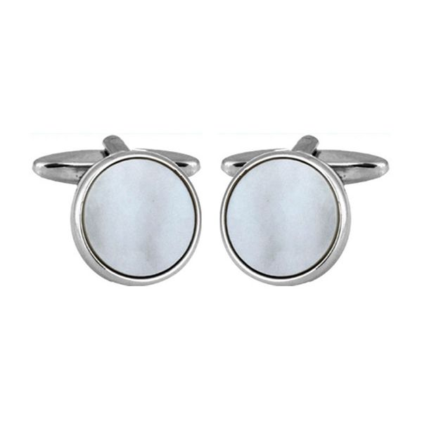 Cufflinks Round White Mother Of Pearl Chrome Plated