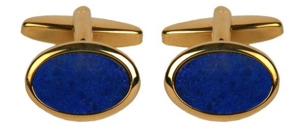 Oval Blue Cufflinks Lapis Lazuli Gold Plated
