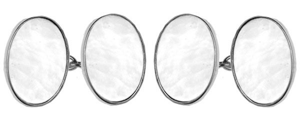 Oval Cufflinks White Mother Of Pearl Sterling Silver
