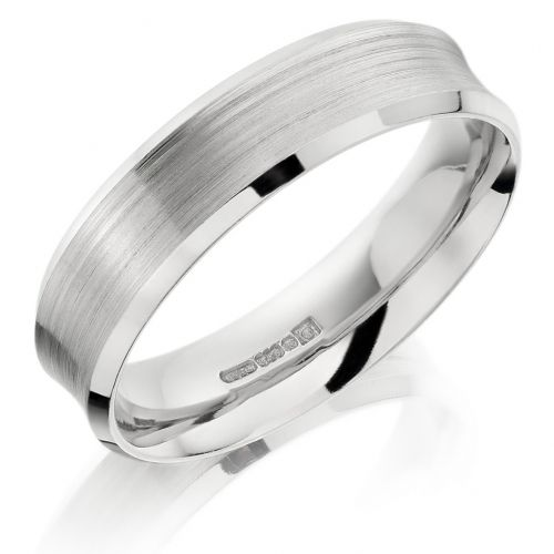 Palladium Brushed Diamond Cut 6mm Wedding Ring