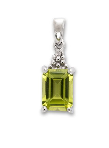 Peridot And Diamond Silver Baguette Necklace