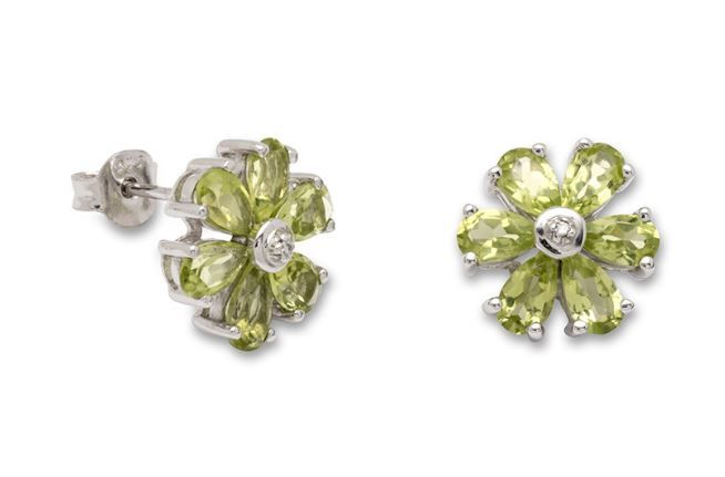 Peridot And Diamond Silver Cluster Earrings