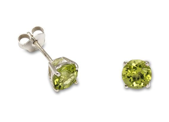 Peridot Silver Round Claw Stud Earrings