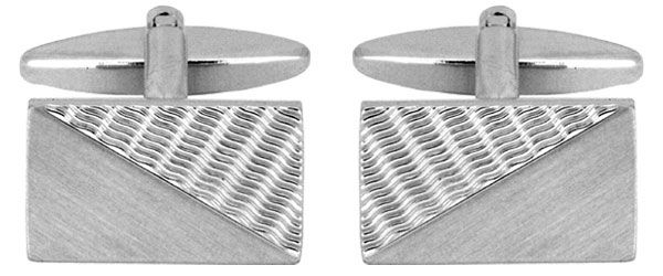 Rectangle Half Brushed Cufflinks Chrome Plated