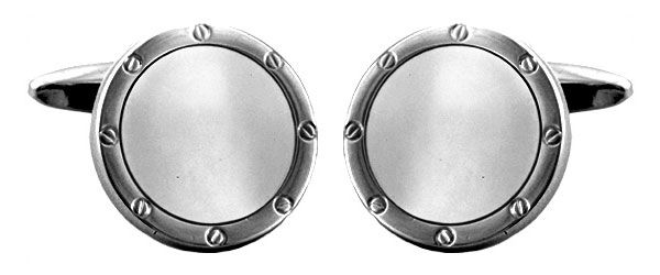 Round Cufflinks Mother Of Pearl Silver Plated