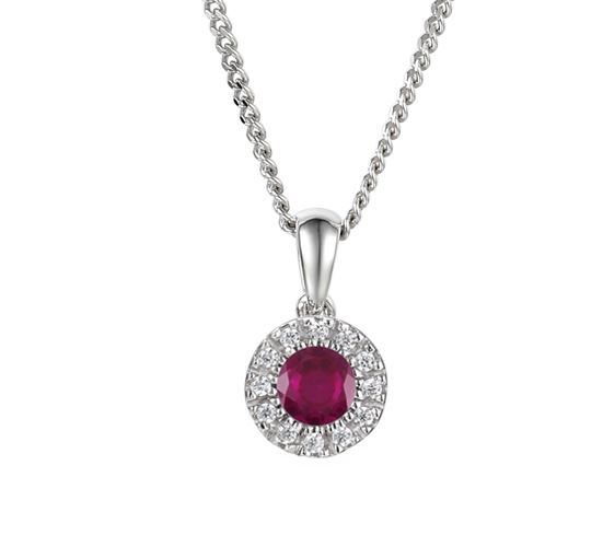 Ruby And Diamond White Gold Cluster Necklace