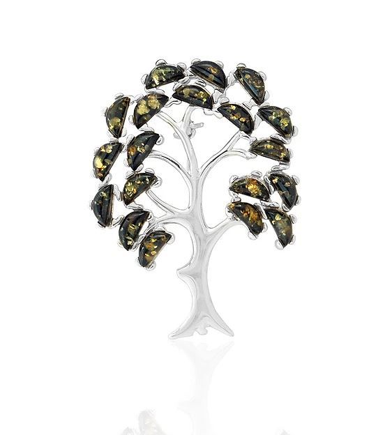 Silver green Amber Tree Of Life Brooch