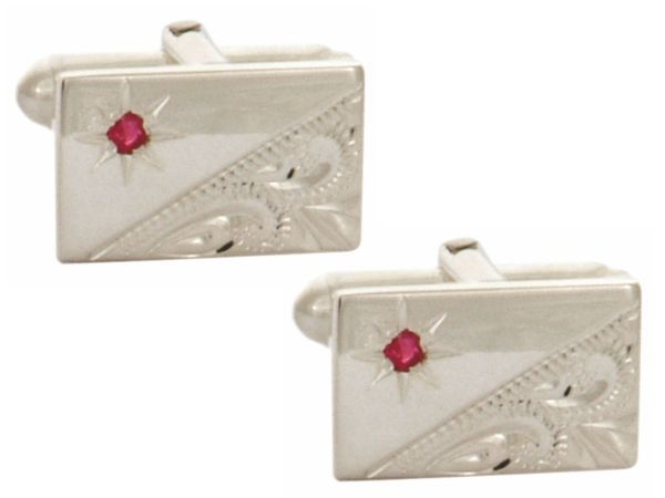 Solid Sterling Silver Ruby Engraved Rectangle Cufflinks