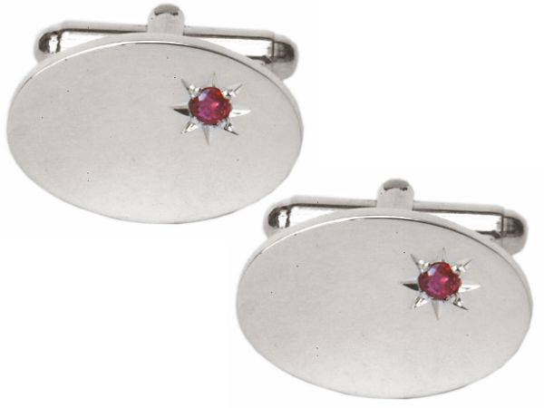 Solid Sterling Silver Ruby Oval Cufflinks