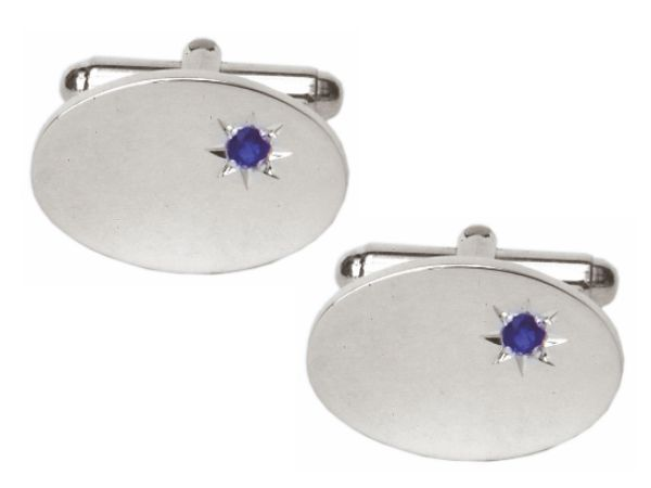 Solid Sterling Silver Sapphire Oval Cufflinks